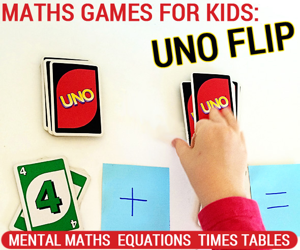 Math games for kids: Uno Flip for mental maths times tables and equations
