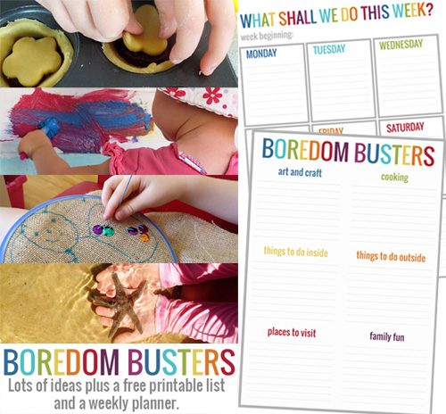 Printable boredom busters activity planner