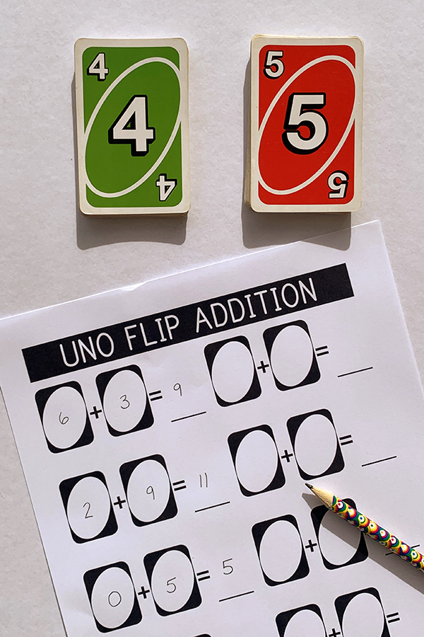 Uno Flip Math Game Addition