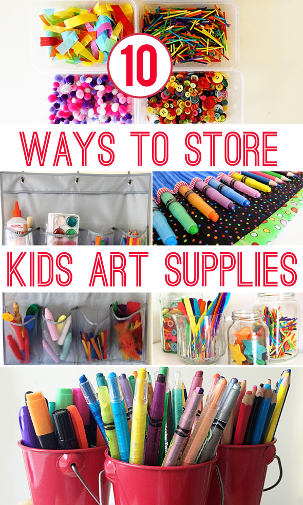 10 ways to store kids art materials childhood101 for Craft supplies organization ideas