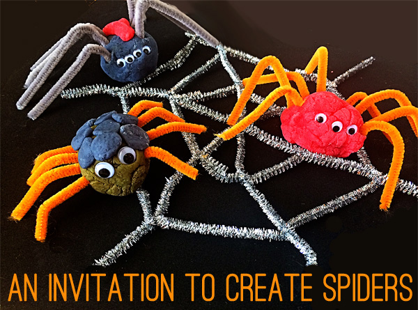 An invitation to create: Making playdough spiders copy
