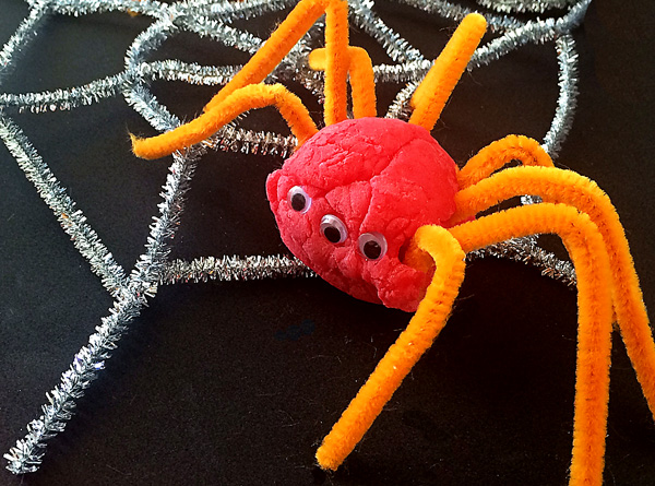 An invitation to play: Playdough spiders
