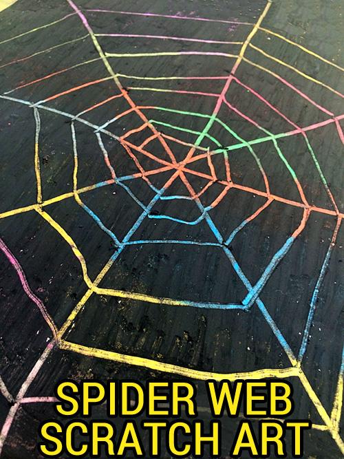 Scratch art spider webs for Halloween