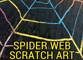 Spider web scratch art for Halloween