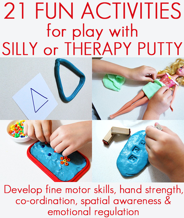 21 silly putty activities and homemade putty recipe. Fabulous fine motor activities for kids