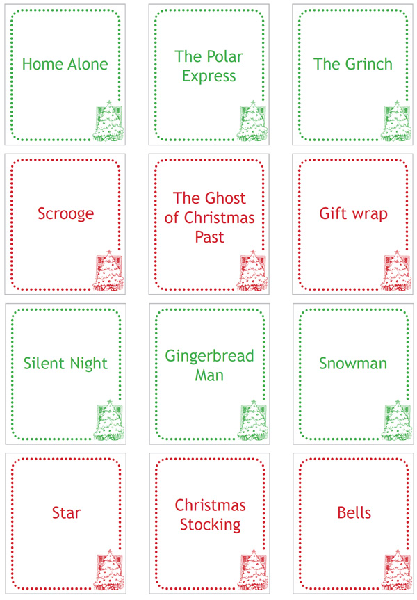 graphic regarding Charades Printable referred to as Xmas Charades Printable - Childhood101