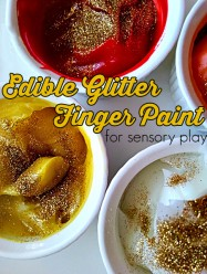 Edible Glitter Finger Paint for preschool sensory play