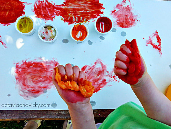 Edible Glitter Finger Paint for toddler sensory play