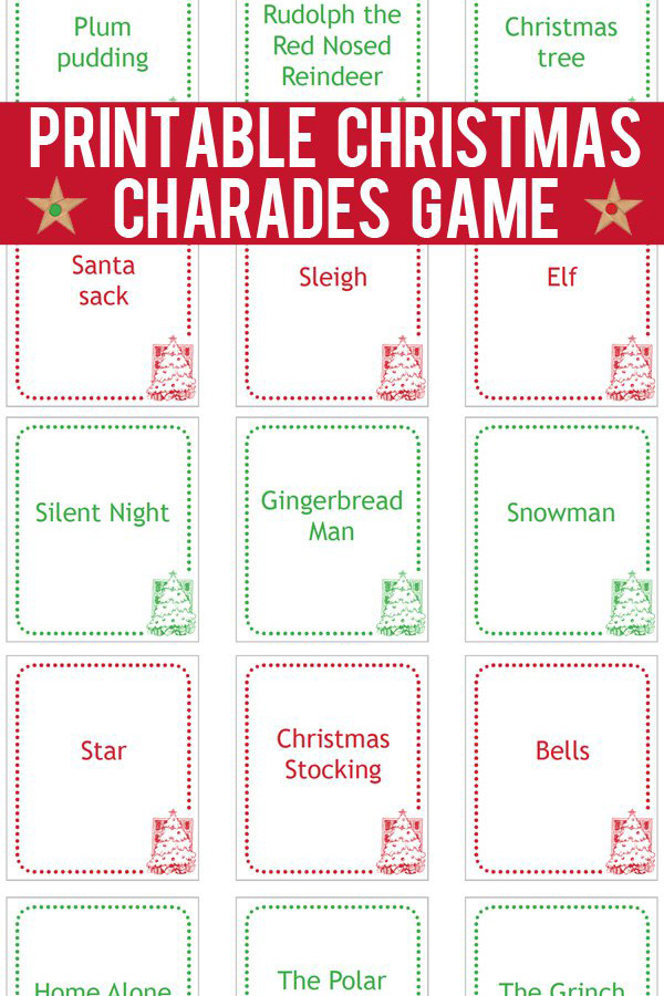 image relating to Charades Printable identified as Xmas Charades Playing cards: Printable Sport Playing cards toward Print-and-Perform