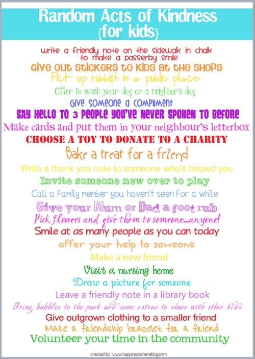 Random Acts of Kindness Printable Poster