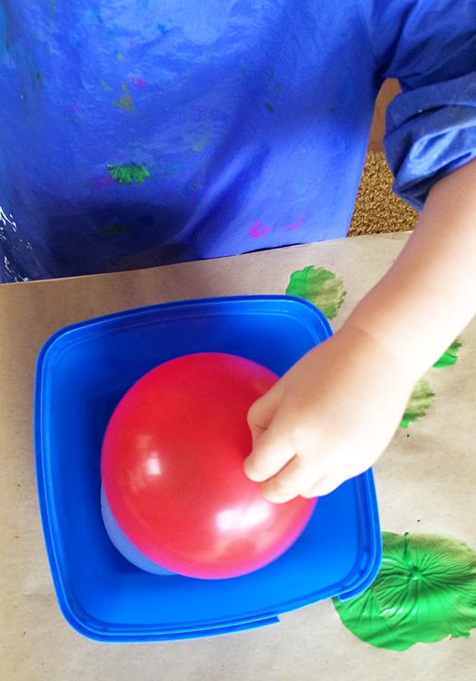 Sensory Play Ideas: Balloon Printing with ideas for additional sensory exploration