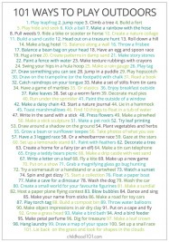 101 Things to Do Outdoors Printable Play Poster