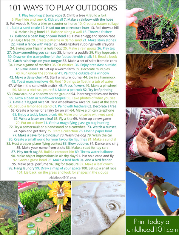 101 Things to Do Outdoors Printable Play Poster from Childhood101