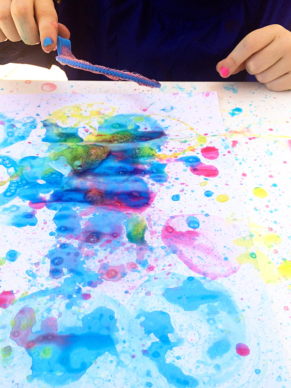 bubble painting with bubble blowers kids love this painting activity