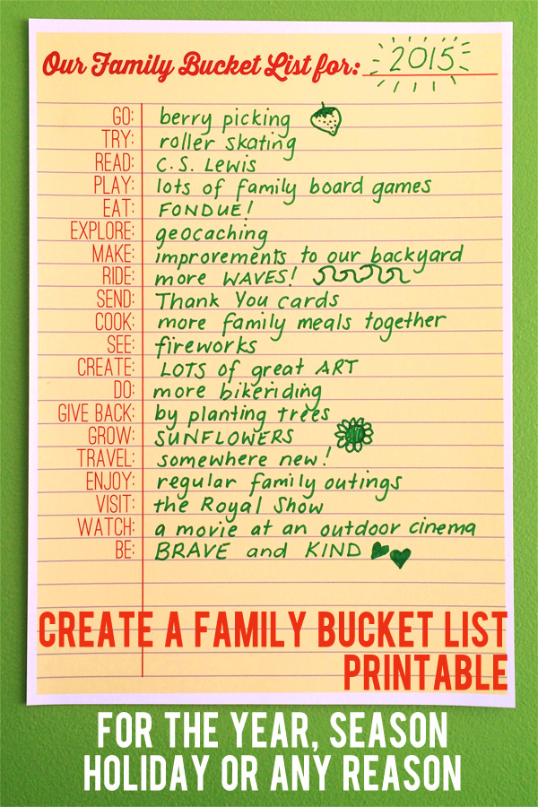 photo relating to Bucket List Printable known as Acquire a Relatives Bucket Record - Printable