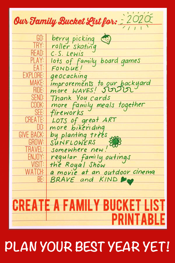 Family bucket list printable