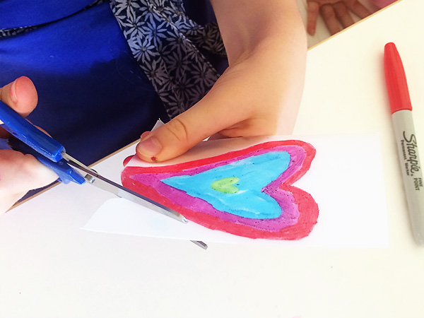 Hanging hearts drawing and threading activity for kids
