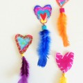 Hanging hearts Valentines craft idea for kids