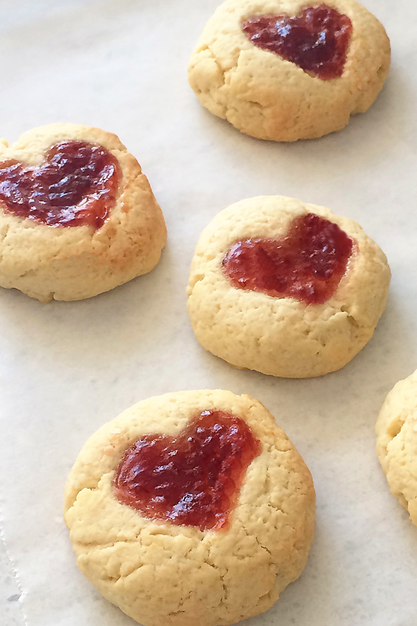 sweetheart jam drop cookies