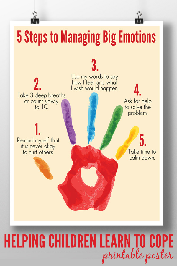 5 Steps to Managing Big Emotions Printable – Anger Management Worksheets for Kids