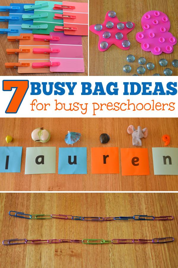 7 Busy Bag Ideas for Busy Preschoolers