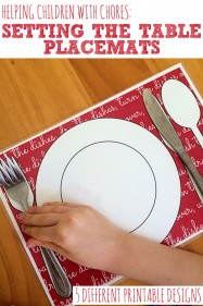 HELPING CHILDREN WITH CHORES-Printable Placemats for Setting the Table
