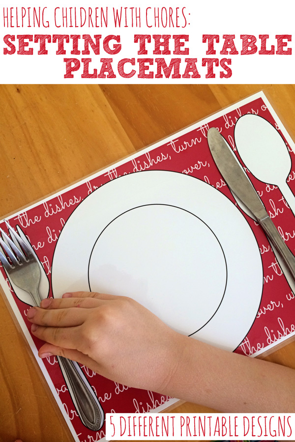 Kids & Chores: Printable Setting the Table Placemats