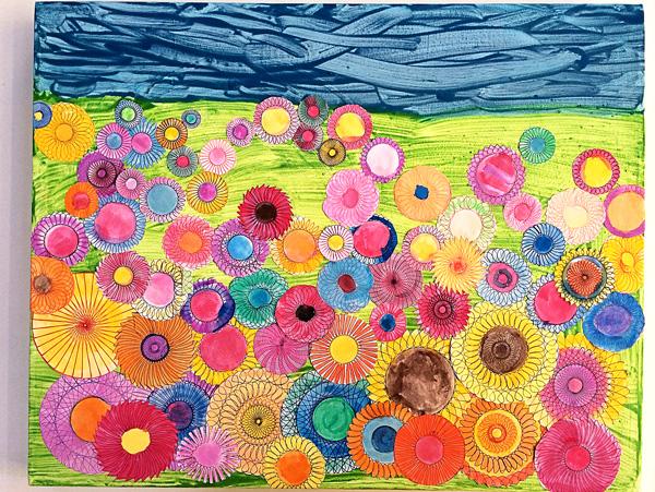 kids art ideas spiral art garden collage - Garden Art Ideas For Kids