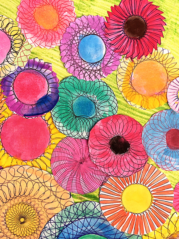 Kids Art Idea: Spiral Art Spring Garden Collage
