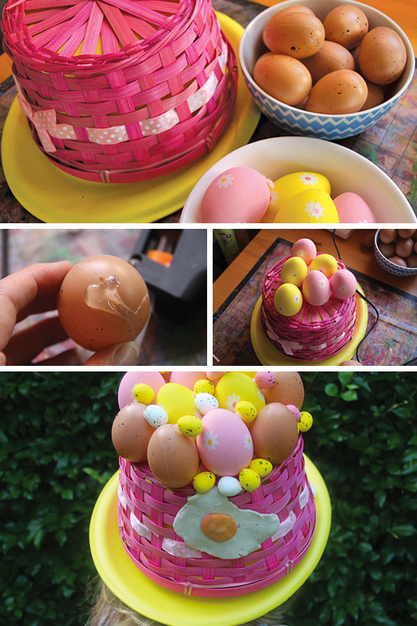 Easter Hat Parade Hat Ideas: Basket of Eggs Hat