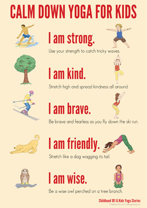 picture about Printable Yoga Poses for Preschoolers referred to as Relaxed Down Yoga Program for Small children: Printable