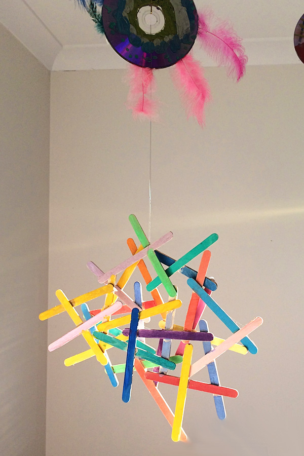 Craft stick and watercolour sculpture