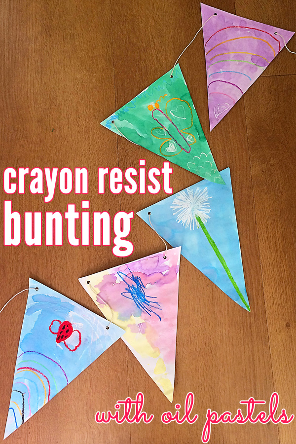 Family made crayon resist bunting with oil pastels
