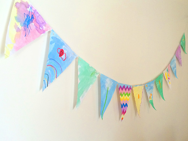 Oil pastel and watercolour bunting