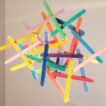 Craftstick and watercolour sculpture