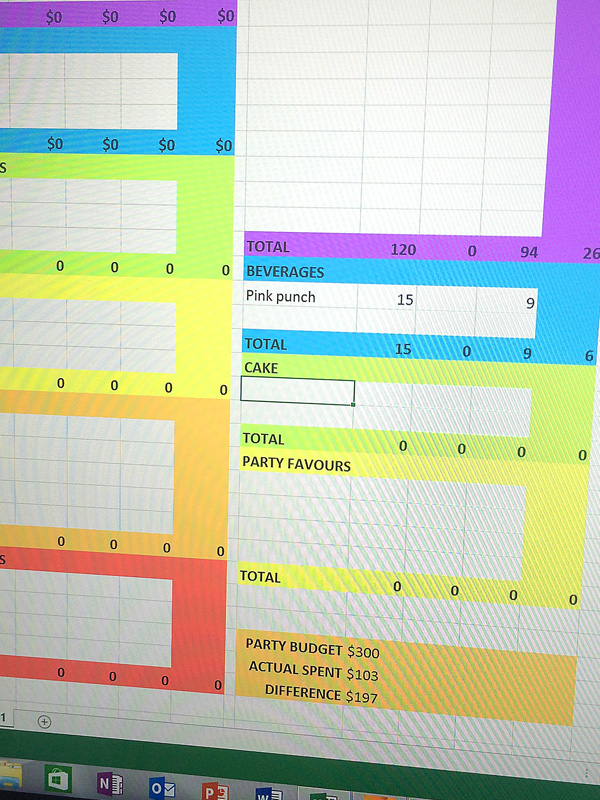 Excel party budget planner