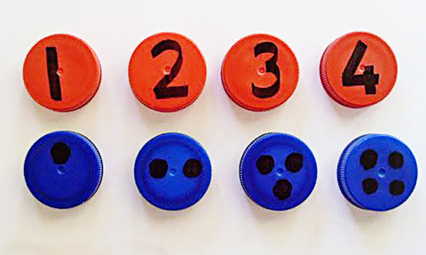 9 Fun Maths Games with Lids. Perfect for toddlers and preschoolers.
