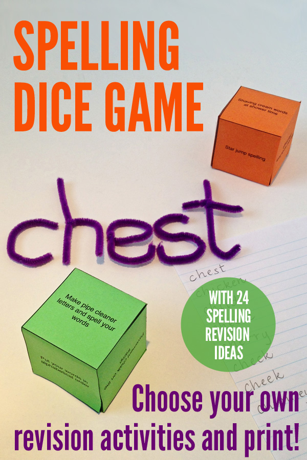 Spelling Dice Game Printable: Choose your own activities, print and play
