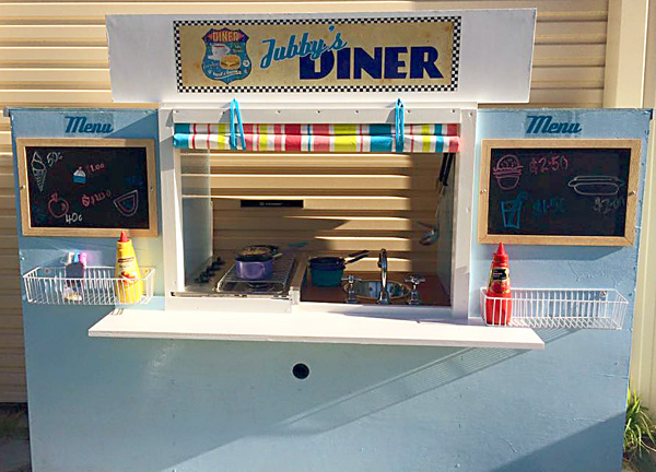 DIY Imaginative Play Diner from a TV Cabinet