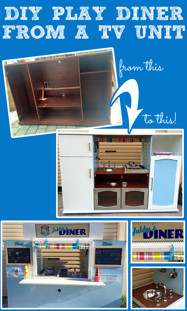 DIY Play Diner from a TV Cabinet