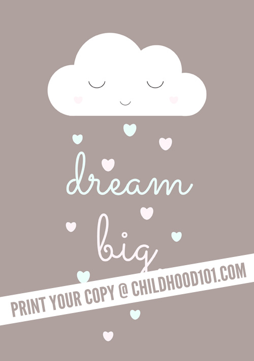 Dream Big free printable poster. Perfect for kids spaces