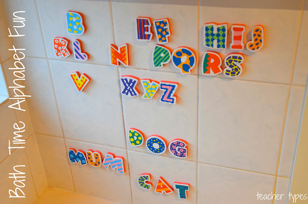 Word Games & Spelling Activites: Word Building at bathtime