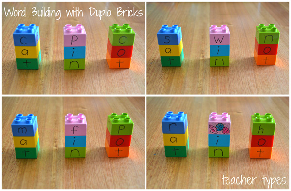 Word Games & Spelling Activites: Word Building with Duplo