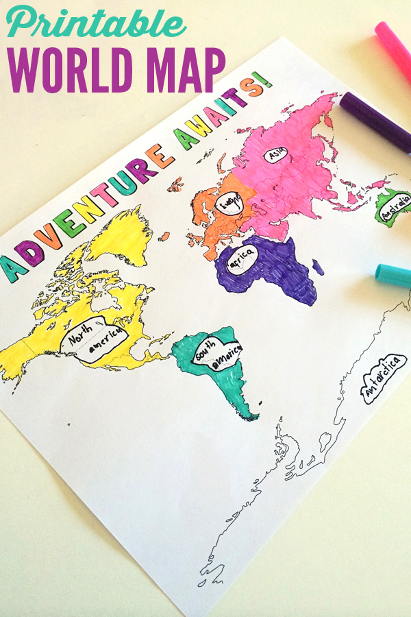 Geography Resources For Children - Printable childrens world map