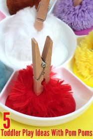 5 Simple Toddler Play Ideas with pom poms