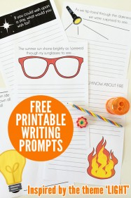 Free printable writing prompts for kids. Inspired by Book Week 2015 theme of light