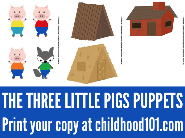 The three little pigs printable storytelling puppets for The three little pigs puppet templates