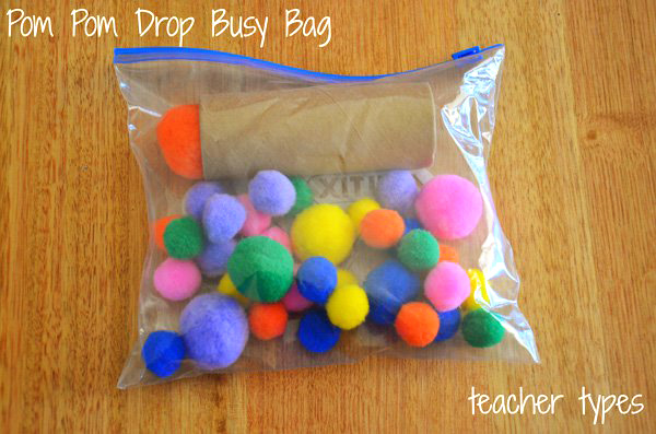 Toddler-Busy-Bag-Ideas: Pom-pom-drop