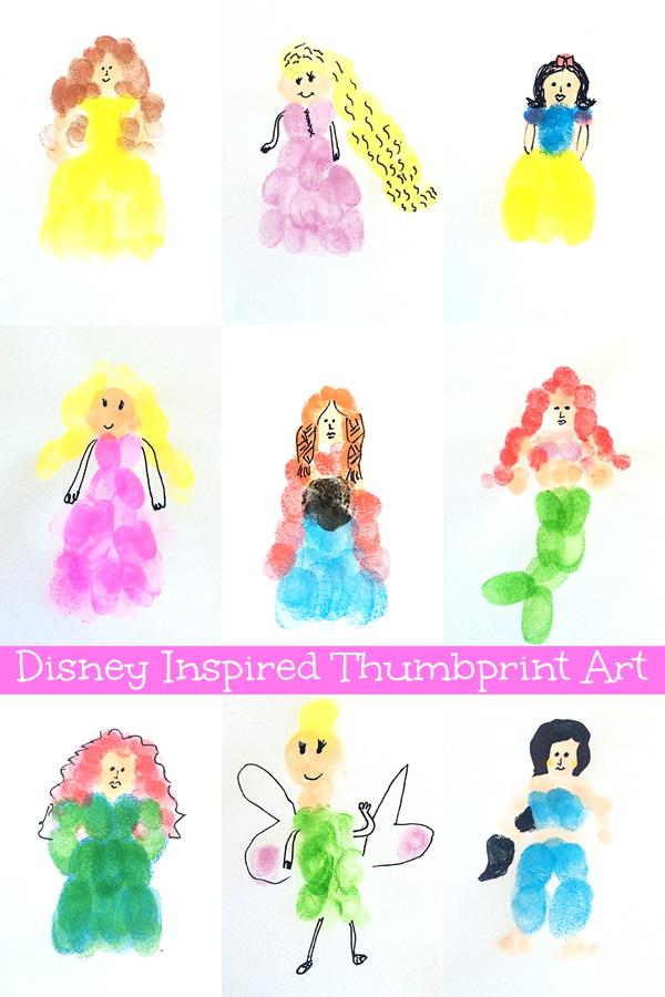 Disney Inspired Fingerprint Art