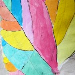 Kids art ideas: Crayon resist watercolour leaf rubbings